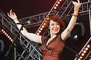 Nederland, Nijmegen, 4-6-2017MusicMeeting. Festivalterrein in park Brakkenstein. Traditioneel met pinksteren. Het mooie weer zorgde voor veel bezoekers en een goede sfeer. Optredens van acts, bands, artiesten uit de wereld muziek, worldmusic . Amariszi XL met Balkan muziek.Foto: Flip Franssen