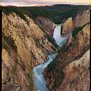 Pre-dawn light at the Grand Canyon of the Yellowstone with Lower Falls, Yellowstone National Park. 4x5 Kodak Ektar 100. photo by Nathan Lambrecht