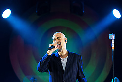 "© Licensed to London News Pictures . 07/07/2017 . Manchester , UK . Lead singer TIM BOOTH . "" James "" perform live at the Castlefield Bowl as part of Sounds of the City , during the Manchester International Festival . Photo credit : Joel Goodman/LNP"