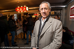 MBE event promoter Francesco Agnoletto at the Mr. Martini Friday night party celebrating the opening of his bar / restaurant at the workshop during the Motor Bike Expo. Verona, Italy. January 22, 2016.  Photography ©2016 Michael Lichter.