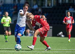 Nicolaj Thomsen (HIK) kæmper med Carl Lange (FC Helsingør) under træningskampen mellem FC Helsingør og HIK den 1. august 2020 på Helsingør Ny Stadion (Foto: Claus Birch).