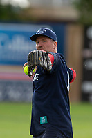 KELOWNA, CANADA - JUNE 28: Former NHL player Scott Hartnell throws to the infield during the opening charity game of the Home Base Slo-Pitch Tournament fundraiser for the Kelowna General Hospital Foundation JoeAnna's House on June 28, 2019 at Elk's Stadium in Kelowna, British Columbia, Canada.  (Photo by Marissa Baecker/Shoot the Breeze)
