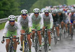Riders of team Perutnina Ptuj (in front Kristjan Durasek of Croatia (Perutnina Ptuj),  Kristjan Fajt of Slovenia (Perutnina Ptuj) and Gregor Gazvoda of Slovenia (Perutnina Ptuj)) leading the peloton in last 4th stage of the 15th Tour de Slovenie from Celje to Novo mesto (157 km), on June 14,2008, Slovenia. (Photo by Vid Ponikvar / Sportal Images)/ Sportida)