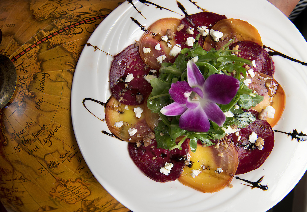 May 24, 2016 Middletown<br /> Bread & Water restaurant. The Roasted Beet Carpaccio with arugula, candied walnuts, honey goat cheese with a vinicotto balsamic.