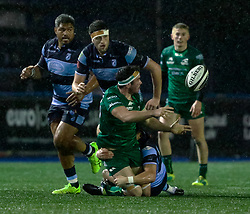 Paul Boyle of Connacht is tackled by Lloyd Williams of Cardiff Blues<br /> <br /> Photographer Simon King/Replay Images<br /> <br /> Guinness PRO14 Round 14 - Cardiff Blues v Connacht - Saturday 26th January 2019 - Cardiff Arms Park - Cardiff<br /> <br /> World Copyright © Replay Images . All rights reserved. info@replayimages.co.uk - http://replayimages.co.uk