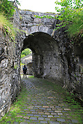 Entrance passage tunnel to old fort in Nordnes area, city of Bergen, Norway