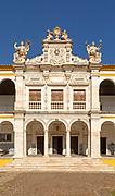 Facade of old chapel Colégio do Espírito Santo, historic courtyard of Evora University, Evora, Alto Alentejo, Portugal, Southern Europe