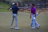 Martin Laird (SCO) fist bumps Matthew Wolff (USA) after winning the second playoff hole to win the 2020 Shriner's Hospital for Children Open, TPC Summerlin, Las Vegas, NV. 10/11/2020.<br /> Picture: Golffile | Ken Murray<br /> <br /> <br /> All photo usage must carry mandatory copyright credit (© Golffile | Ken Murray)