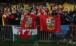 Lions fans celebrate after the second test of the 2017 British and Irish Lions tour at Westpac Stadium, Wellington.