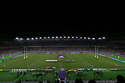 General overall view of the playing of the national anthems at the Rugby World Cup  final match between England and South Africa at the International Stadium ,  Saturday, Nov. 2, 2019, in Yokohama, Japan. South Africa defeated England 32-12. (Florencia Tan Jun/ESPA-Image of Sport)