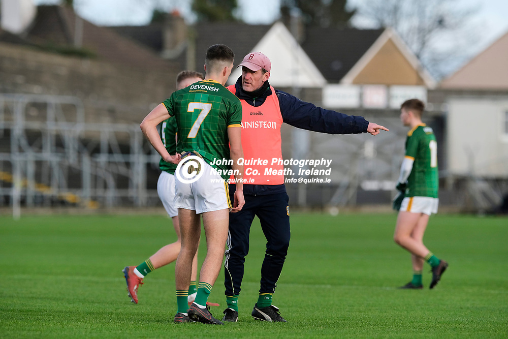 19/12/2020, Leinster Minor Football Championship semi final at Pairc Tailteann, Navan<br /> Meath v Laois<br /> Meath manager - John McCarthy chats with Ciaran Caulfield before the start of the game<br /> Photo: David Mullen / www.quirke.ie ©John Quirke Photography, Proudstown Road Navan. Co. Meath. 046-9079044 / 087-2579454.<br /> ISO: 400; Shutter: 1/1250; Aperture: 4;
