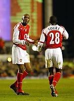 Photo. Chris Ratcliffe, Digitalsport<br /> Arsenal v Bayern Munich. Champions League. 09/03/2005<br /> Patrick Vieira asks Kolo Toure where it all went wrong.
