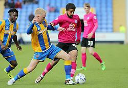 Adil Nabi of Peterborough United skips past Jack Grimmer of Shrewsbury Town - Mandatory by-line: Joe Dent/JMP - 30/04/2016 - FOOTBALL - New Meadow - Shrewsbury, England - Shrewsbury Town v Peterborough United - Sky Bet League One