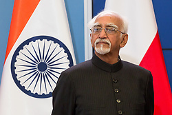 April 27, 2017 - Warsaw, Poland - Vice President of India Mohammad Hamid Ansari during the press conference at Chancellery of the Prime Minister in Warsaw, Poland on 27 April 2017  (Credit Image: © Mateusz Wlodarczyk/NurPhoto via ZUMA Press)