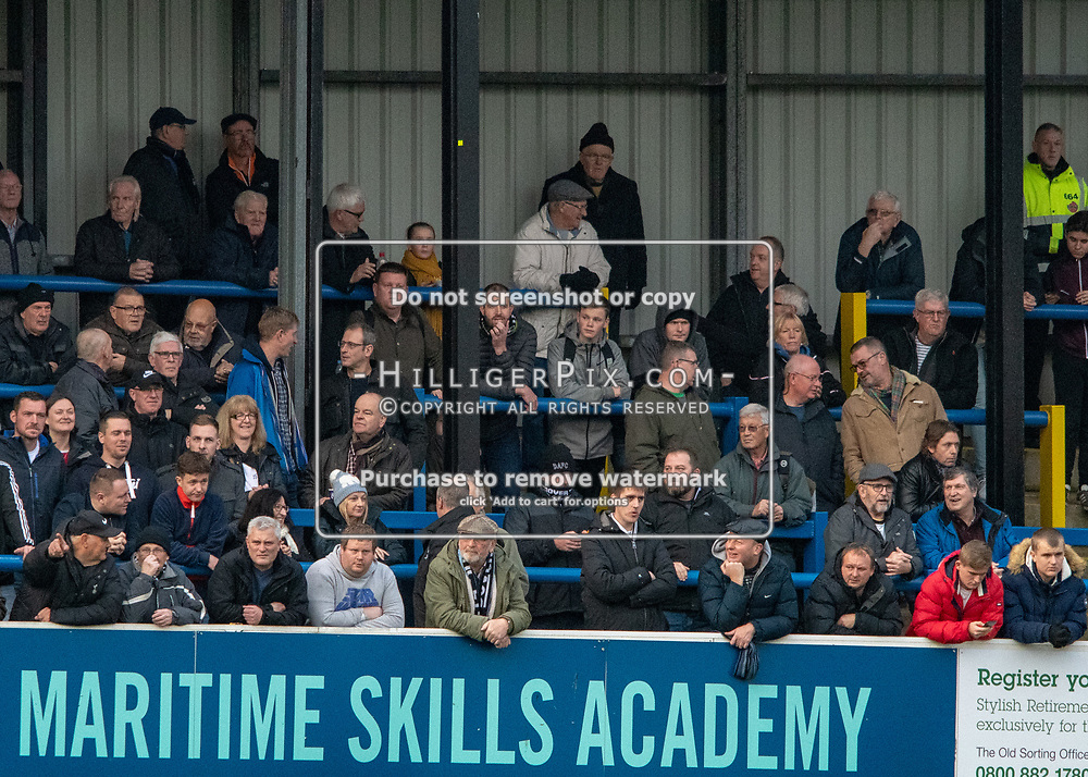 DOVER, UK - DECEMBER 29: Dover supporters during the Vanarama National League match between Dover Athletic and Leyton Orient at the Crabble Stadium on December 29, 2018 in Dover, UK. (Photo by Jon Hilliger)