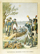 Napoleon's campaign of 1809. Napoleon and General Massena on the island of Lobau, May 1809, shortly before the decisive French victory at  the Battle of Aspern-Essling.  Late 19th century colour-printed engraving.