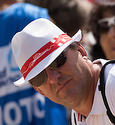 Aiguebelette, FRANCE,   Freebi hat's given away by the local department.   2015 FISA World Rowing Championships, Venue, Lake Aiguebelette - Savoie. <br /> <br /> Friday  04/09/2015  [Mandatory Credit. Peter SPURRIER/Intersport Images].
