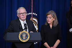 December 13, 2016 - Washington, DC, United States - David Grubb, former State Senator and former member of the West Virginia House of Delegates, with his wife,  Kate by his side, talk about the loss of their 30 year old daughter Jessica in March 2016 from an overdose, before introducing President Barack Obama, and VP Joe Biden, and the signing of the 21st Century Cures Act, in the South Court Auditorium of the Eisenhower Executive Office Building of the White House in Washington, DC. on December 13, 2016. The legislation eases the development and approval of experimental treatments and reforms federal policy on mental health care. (Credit Image: © Cheriss May/NurPhoto via ZUMA Press)