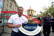 England rugby Legend Jason Robinson poses with the Webb Ellis Trophy. RWC 2015, Coca Cola London Eye launch for the Rugby World cup event  in London on Tuesday 15th Sept  2015.<br /> pic by John Patrick Fletcher, Andrew Orchard sports photography.