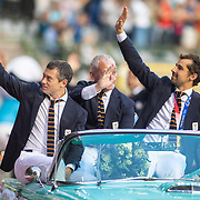 BRUSSELS, BELGIUM:  September 3:   Members of the he Belgian Red Lions male hockey team gold medal winners during the olympians parade at the Wanda Diamond League 2021 Memorial Van Damme Athletics competition at King Baudouin Stadium on September 3, 2021 in  Brussels, Belgium. (Photo by Tim Clayton/Corbis via Getty Images)
