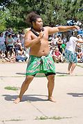 Asian American Pacific Rim Islander performing ceremonial dance. Dragon Festival Lake Phalen Park St Paul Minnesota USA