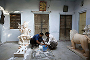 Stone carvers at work in the Paharganj area, Jaipur, India