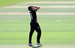 Dejection for Somerset's Jamie Overton - Photo mandatory by-line: Harry Trump/JMP - Mobile: 07966 386802 - 29/07/15 - SPORT - CRICKET - Somerset v Durham - Royal London One Day Cup - The County Ground, Taunton, England.