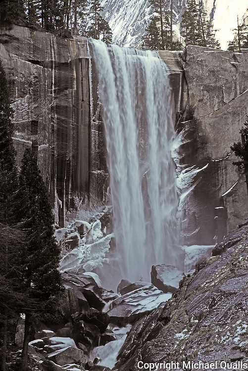 Vernal Falls taken from the bridge in winter.