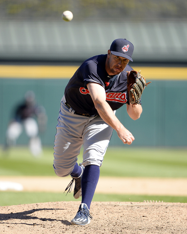 CHICAGO - APRIL 23:  Bryan Shaw #27 of the Cleveland Indians pitches against the Chicago White Sox on April 23, 2017 at Guaranteed Rate Field in Chicago, Illinois.  The White Sox defeated the Indians 6-2.  (Photo by Ron Vesely)   Subject:  Bryan Shaw