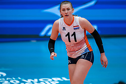Elles Dambrink of Netherlands in action during United States - Netherlands, FIVB U20 Women's World Championship on July 15, 2021 in Rotterdam