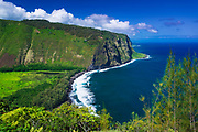 Waipio Valley and beach, Hamakua Coast, The Big Island, Hawaii USA