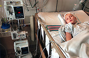 Denis Zyablitsev sleeps in PICU after successful brain surgery at Lutheran General Hospital in Park Ridge Illinois