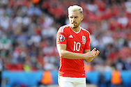 Aaron Ramsey of Wales looks on. UEFA Euro 2016, last 16 , Wales v Northern Ireland at the Parc des Princes in Paris, France on Saturday 25th June 2016, pic by  Andrew Orchard, Andrew Orchard sports photography.