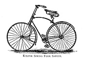 Eclipse Spring Fork Safety bicycle From Wheels and Wheeling; An indispensable handbook for cyclists, with over two hundred illustrations by Porter, Luther Henry. Published in Boston in 1892
