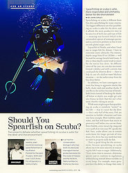 """Scuba Diving Magazine, March/April 2011, """"Ask an Expert"""" Feature, P76, editorial use, USA, Image ID: Florida-Tampa-Spearfishing-0004"""