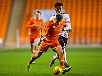 Blackpool's Sean Graham gets away from Derby County's Archie Brown<br /> <br /> Photographer Alex Dodd/CameraSport<br /> <br /> The FA Youth Cup Third Round - Blackpool U18 v Derby County U18 - Tuesday 4th December 2018 - Bloomfield Road - Blackpool<br />  <br /> World Copyright © 2018 CameraSport. All rights reserved. 43 Linden Ave. Countesthorpe. Leicester. England. LE8 5PG - Tel: +44 (0) 116 277 4147 - admin@camerasport.com - www.camerasport.com