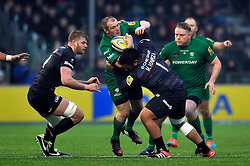 Harry Allen of London Irish is tackled by Mako Vunipola of Saracens - Photo mandatory by-line: Patrick Khachfe/JMP - Mobile: 07966 386802 03/01/2015 - SPORT - RUGBY UNION - London - Allianz Park - Saracens v London Irish - Aviva Premiership