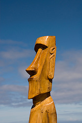 Chile, Easter Island: Crafts sellers create wood story boards, shell necklaces, fishhook pendants from bone, wood and stone carvings of moai..Photo #: ch355-32676..Photo copyright Lee Foster www.fostertravel.com lee@fostertravel.com 510-549-2202