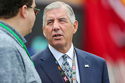Sep 14, 2019; Morgantown, WV, USA; Big 12 Commissioner Bob Bowlsby talks along the sidelines prior to the game at Mountaineer Field at Milan Puskar Stadium. Mandatory Credit: Ben Queen-USA TODAY Sports