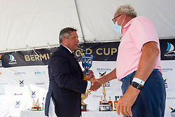 Royal Bermuda Yacht Club Commodore David Benevides (left) presents The Wedgwood Heritage Trophy, awarded in honour of Lord Piers Wedgwood. This year the trophy was presented to Tim Patton, who's barge is a mainstay of the Bermuda Gold Cup. Bermuda Gold Cup and Open Match Racing World Championship. Royal Bermuda Yacht Club, Hamilton, Bermuda. Day Five. 30th October 2020.