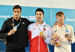BUENOS AIRES, Oct. 9, 2018  Gold medalist Sun Jiajun (C) of China, silver medalist Denis Petrashov (L) of Kyrgyzstan and bronze medalist Taniguchi Taku of Japan pose for photos during the awarding ceremony of the men's 100m breaststroke at the 2018 Summer Youth Olympic Games in Buenos Aires, Argentina on Oct. 8, 2018. (Credit Image: © Zhu Zheng/Xinhua via ZUMA Wire)