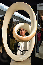"© Licensed to London News Pictures. 03/10/2017. London, UK. A visitor views ""White Ravel in H, VII"", 2016, a sculpture by Richard Fox at the Decorative Antiques & Textiles Fair taking place at Evolution in Battersea Park which runs 3-8 October 2017 and features more than 160 exhibitors. Photo credit : Stephen Chung/LNP"