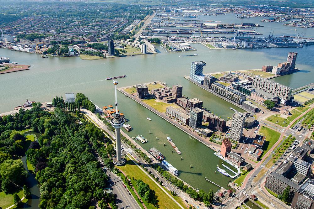 Nederland, Zuid-Holland, Rotterdam, 10-06-2015; Het Park met Euromast, Parkhaven, Muellerpier, Sint Jobshaven, Lloydkwartier. Aan de andere kant van de Nieuwe Maas de Waalhaven.<br /> Rotterdam centre with Euromast (Euro tower), symbol for the city. Newly developed former harbour ara.<br /> luchtfoto (toeslag op standard tarieven);<br /> aerial photo (additional fee required);<br /> copyright foto/photo Siebe Swart