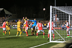 20 February 2017 - The FA Cup - (5th Round) - Sutton United v Arsenal - Jamie Collins of Sutton United heads just over the bar - Photo: Marc Atkins / Offside.
