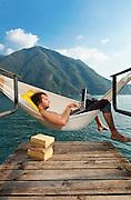 man near a lake in Switzerland, Lugano