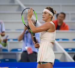 September 26, 2018 - Aryna Sabalenka of Belarus celebrates winning her third-round match at the 2018 Dongfeng Motor Wuhan Open WTA Premier 5 tennis tournament (Credit Image: © AFP7 via ZUMA Wire)