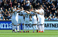 Swansea City players have a team talk prior to kick in what could be there last game in the Premier League<br /> <br /> Photographer Ian Cook/CameraSport<br /> <br /> The Premier League - Swansea City v Stoke City - Sunday 13th May 2018 - Liberty Stadium - Swansea<br /> <br /> World Copyright © 2018 CameraSport. All rights reserved. 43 Linden Ave. Countesthorpe. Leicester. England. LE8 5PG - Tel: +44 (0) 116 277 4147 - admin@camerasport.com - www.camerasport.com
