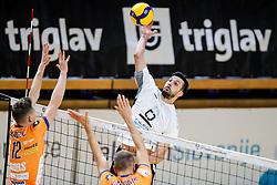 Mitja Gasparini of Calcit Kamnik vs Jure Okroglic of ACH Volley Ljubljana during volleyball match between ACH Volley Ljubljana and Calcit Kamnik in Mevza League 2020/21, on October 17, 2020 in Hala Tivoli, Ljubljana, Slovenia. Photo by Matic Klansek Velej / Sportida