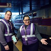 Keolis commuter train workers. Boston commuter train service.