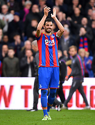 Crystal Palace's Luka Milivojevic applauds the fans at the end of the Premier League match at Selhurst Park, London.